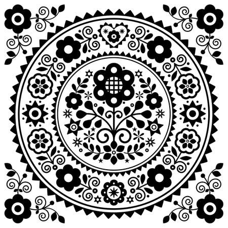 Polish folk art vector greeting card design with floral mandala design in black and white inspired by old traditional Polish embroidery Lachy Sadeckie - bohemian pattern