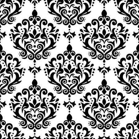 Damask elegant vector seamless pattern, victorian textile or fabric print design with flowers, swirls and leaves in black and white Ilustração