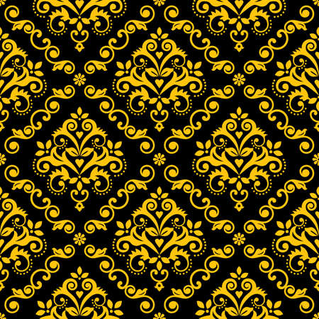 Classic Damask wallpaper or fabric print pattern, royal elegant textile vector seamless design with flowers, leaves and swirls in gold on black