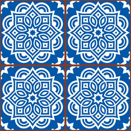 Moroccan mandala tile seamless vector pattern in white on blue background, gometric ornamental wallpaper, textile or fabric print decor