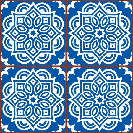 Moroccan mandala tile seamless vector pattern in white on blue background, gometric ornamental wallpaper, textile or fabric print decor