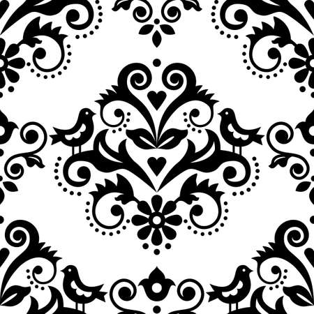 Damask tiled textile or fabric print vector pattern with flowers, birds and swirls, elegant repetitive design in black and white