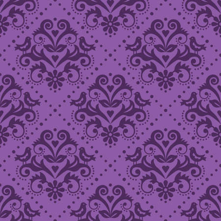 Damask tiled pruple textile or fabric print vector pattern with flowers and birds in frame, classic repetitive design