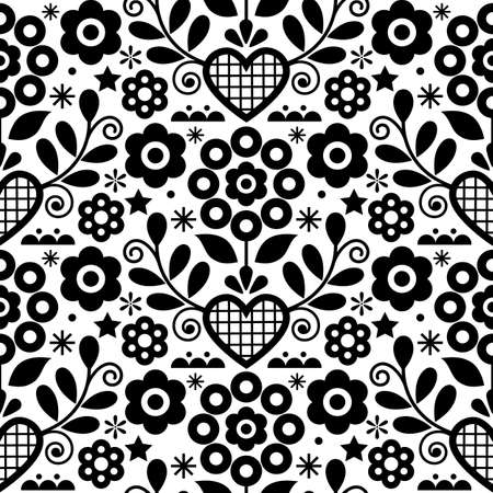 Traditional floral vector seamless black and white pattern perfect for textile or fabric print. Inspired by folk art from Nowy Sacz, Poland