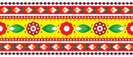 Indian and Pakistani truck art vector seamless pattern long horizontal design, Diwali vibrant textile or fabric print pattern with floral motif Ilustração