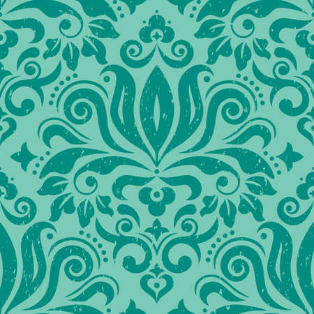 Retro Damask wallpaper or fabric print vector seamless pattern in green, scratched textile vector design with flowers, leaves and swirls Ilustração