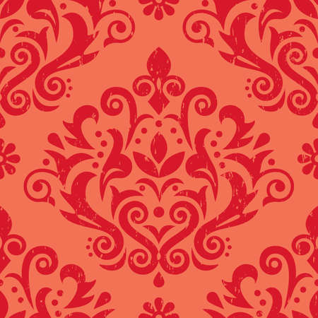 Damask retro scratched vector seamless pattern, victorian red textile or fabric print design with flowers, swirls and leaves