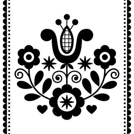 Polish folk art vector round black and white design with flowers perfect for greeting card or wedding invitation Ilustração
