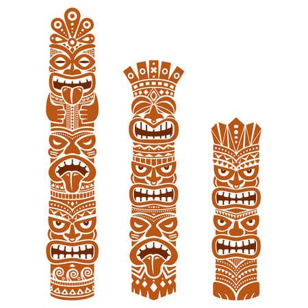 Hawaiian and Polynesia Tiki pole totem vector design - brown tribal folk art background, two or three heads statue Ilustração