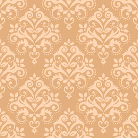 Damask tiled classic wallpaper, textile or fabric print pattern, traditional vector design with floral motif