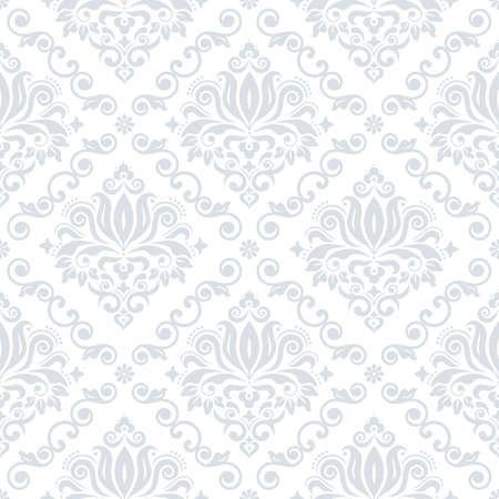 Classic Damask wallpaper or fabric print pattern, retro textile vector design, royal elegant decor is silver gray on white background