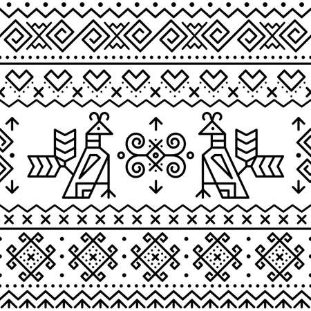 Slovak tribal folk art vector seamless geometric two patterns with brids swirls, zig-zag shapes inspired by traditional painted art from village Cicmany in Zilina region, Slovakia in black on white Ilustração