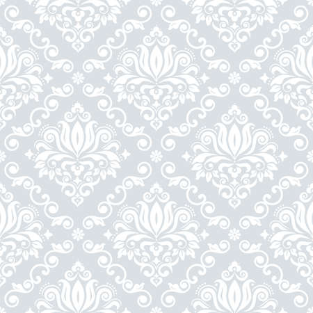 Luxury Damask wallpaper or fabric print pattern, retro textile vector design, royal elegant decor is white on silver gray background