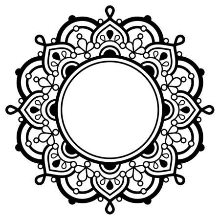 Indian Mandala vector art with empty space for text, geometric design perfect for greeting card or wedding invitaiton Ilustração