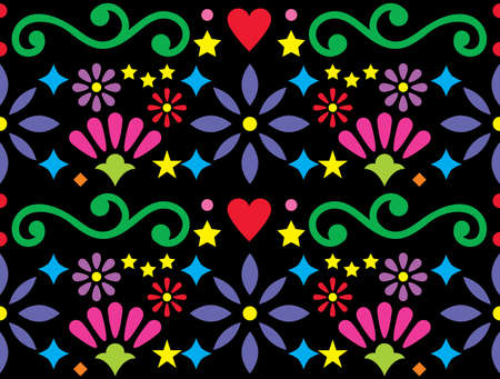Mexican folk art vibrant seamless vector pattern, colorful design with flowers and swirls inspired by traditional ornaments from Mexico on black background
