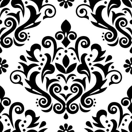 Damask luxury vector seamless pattern, victorian black and white textile or fabric print design with flowers, swirls and leaves