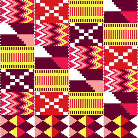 African Kente nwentoma cloth style vector seamless pattern, red, brown and pink design with zig-zag and geometric shapes inspired by Ghana tribal fabrics or textiles Ilustración de vector
