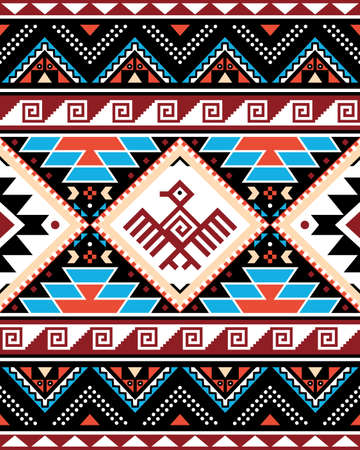 Aztec Triabl geometric seamless vector pattern with bird and traingles - Peruvian rug or carpet style, 8x10 format, Southwestern decor