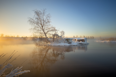 fishing cabin: Fishermans hut in the winter
