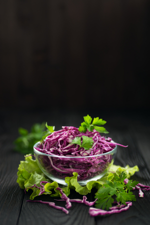 Vegetarian red cabbage salad, concept of a healthy diet 스톡 콘텐츠