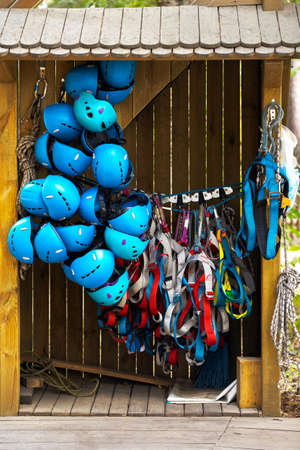 Equipment for the rope park. For overcoming obstacles on ropeways at height Banco de Imagens