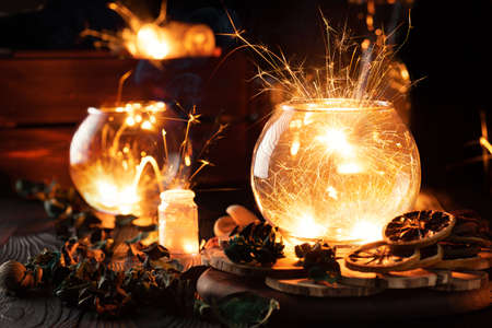 mystical still life, sparks caught in glass vessels Banco de Imagens