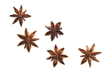 flying anise stars isolated on white background