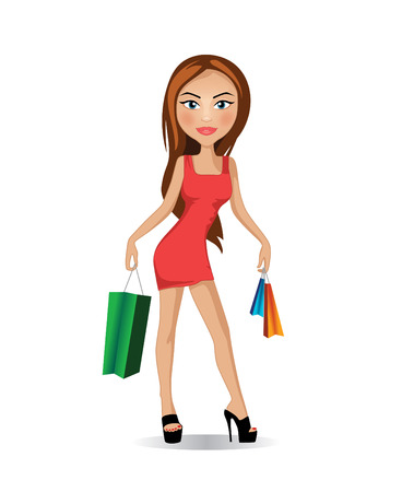 full length woman: Young woman in red dress holding shopping bags in both hands