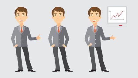 Drie beelden van een zakenman die thumbsup teken met armen over elkaar en het tonen van zakelijke presentatie
