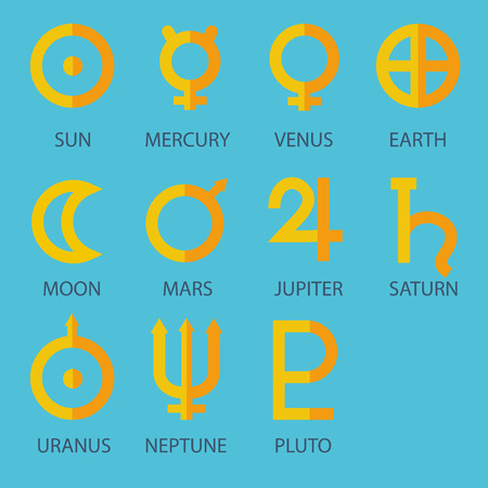 predicting: Zodiac and astrology symbols of sun moon and Solar System planets with captions on bright blue background Illustration