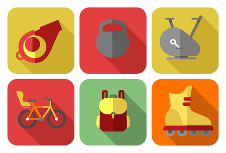 body concern: Set of icons depicting sport and fitness equipment