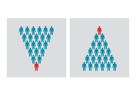 Twee beelden van business team hiërarchie piramides gemaakt van blauwe en rode tekens