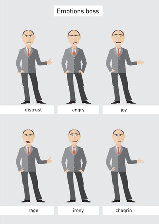 sneering: Six images of one businessman showing various emotions with captions