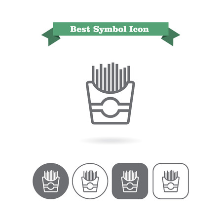 six objects: Set of icons with French fries in paper box, with text on green ribbon