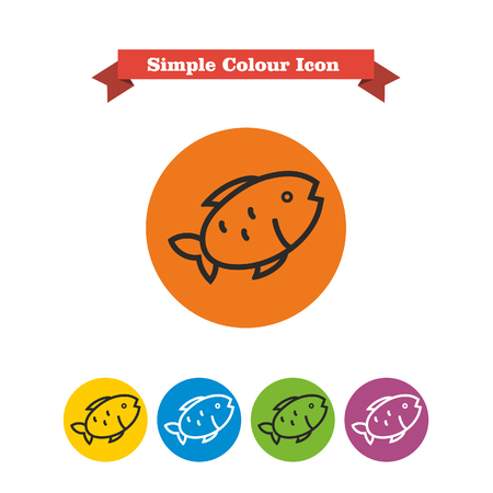 six objects: Set of icons with fish, with text on red ribbon Illustration