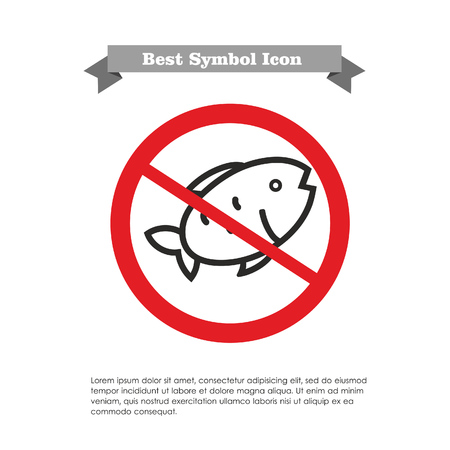 two objects: Icon of fish in prohibition sign, with text on grey ribbon and sample text Illustration