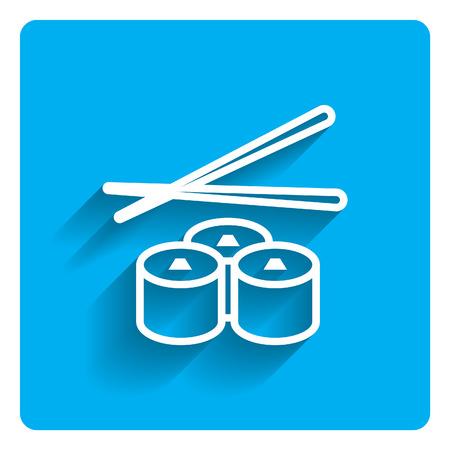 Icon of sushi and chopsticks on bright blue background Illustration