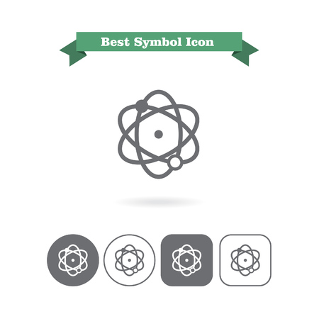 six objects: Set of icons with atom model, with text on green ribbon