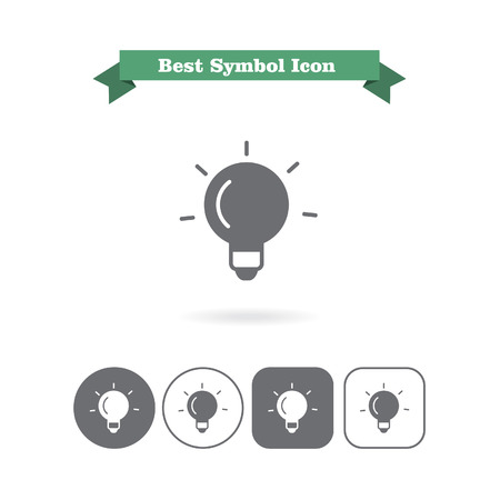 six objects: Set of icons with glowing bulb, with text on green ribbon