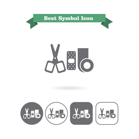 bandaging: Set of icons with bandaging materials and scissors, with text on green ribbon