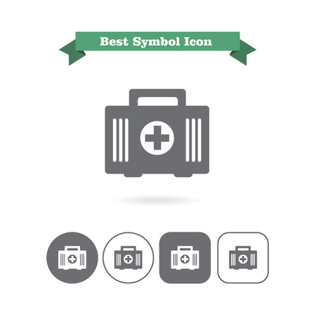 six objects: Set of icons with first aid kit, with text on green ribbon