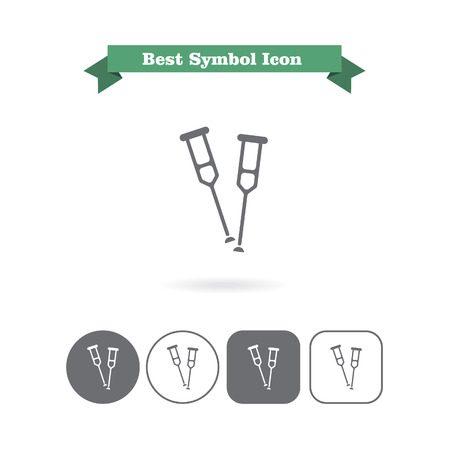 six objects: Set of icons with crutches, with text on green ribbon Illustration