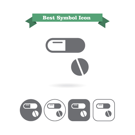 six objects: Set of icons with capsule and pill, with text on green ribbon