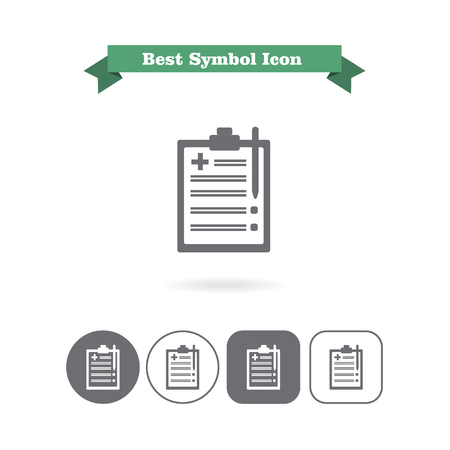 six objects: Set of icons with medical report on clipboard, with text on green ribbon