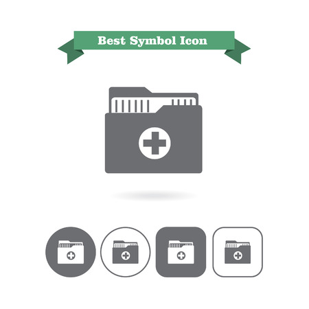 six objects: Set of icons with medical history folder, with text on green ribbon