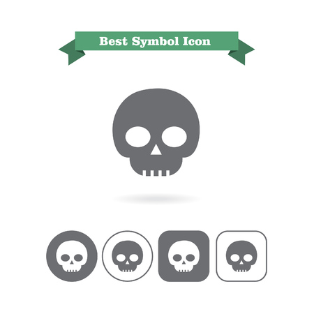 six objects: Set of icons with skull, with text on green ribbon