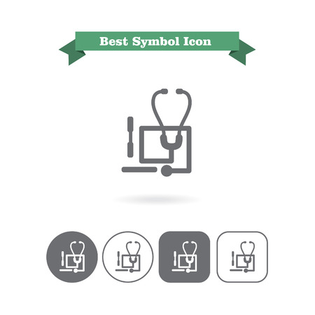 depressor: Set of icons with stethoscope and tongue depressors, with text on green ribbon