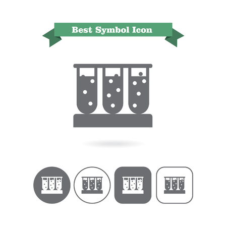 bubbling: Set of icons with test tubes filled with bubbling liquid, with text on green ribbon