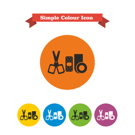 bandaging: Set of icons with bandaging materials and scissors, with text on red ribbon