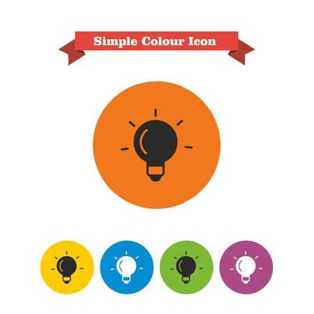 six objects: Set of icons with glowing bulb, with text on red ribbon Illustration
